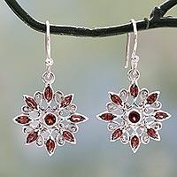 Garnet dangle earrings, 'Star Gala in Red'