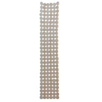 Hand Crocheted Beige And Silver Table Runner Circular