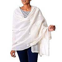 Cotton and silk shawl, 'Floral Ivory Paisley' - Hand Embroidered Off-White Indian Cotton Blend Shawl