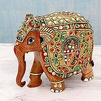 Wood sculpture, 'Festive Mood' - Colorful Hand Painted Kadam Wood Elephant Statuette