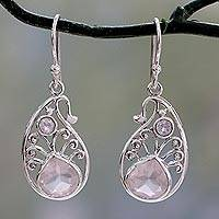 Rose quartz and rainbow moonstone dangle earrings, 'Festive Paisley'