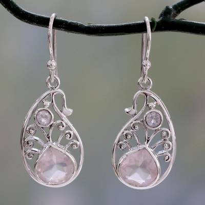Rose quartz and rainbow moonstone dangle earrings, 'Festive Paisley' - Paisley Shaped Silver Earrings with Rose Quartz Gems