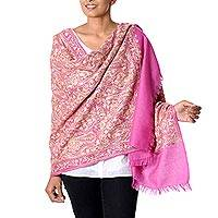 Wool shawl, 'Poppy Extravaganza' - Fuchsia Wool Shawl with Indian Chainstitch Aari Embroidery