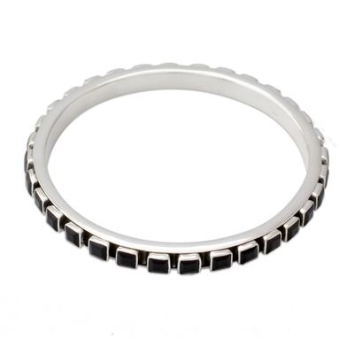 Contemporary Silver Bangle Bracelet Set with Onyx