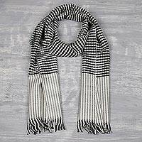 Men's cashmere scarf, 'Dapper Charm' - Men's Black and White Houndstooth Cashmere Scarf from India