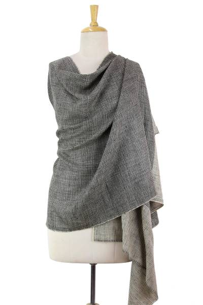 Cashmere shawl, 'Ladakh Houndstooth' - Black and Off White Cashmere Shawl Woven in India