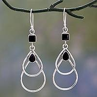 Onyx dangle earrings, 'Black Ice' - Onyx Dangle Style Earrings Set in Polished Sterling Silver