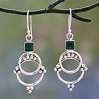Onyx dangle earrings, 'Green Jaipur Magic'