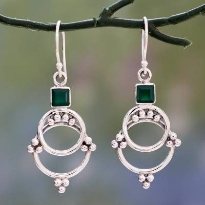 Onyx dangle earrings, 'Green Jaipur Magic' - Artisan Designed Sterling Silver Earrings with Green Onyx