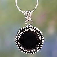 Onyx pendant necklace, 'Royal Eclipse' - Round Onyx Cabochon Pendant Necklace on Silver Snake Chain