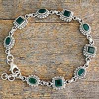 Green onyx link bracelet, 'Captivating Green' - Link Bracelet in Sterling Silver with Enhanced Green Onyx