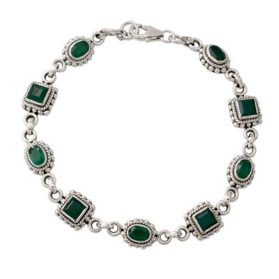 Link Bracelet in Sterling Silver with Enhanced Green Onyx