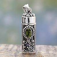 Peridot prayer box pendant, 'Calmness' - Peridot and 925 Silver Prayer Box Pendant from India