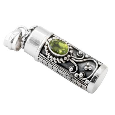Peridot and 925 Silver Prayer Box Pendant from India