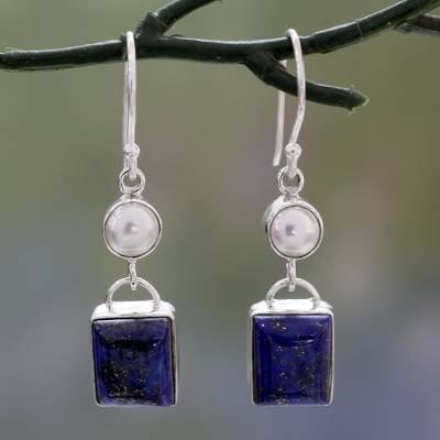 Lapis lazuli and cultured pearl dangle earrings, 'Bangalore Glam' - Silver Dangle Earrings with White Pearls and Lapis Lazuli
