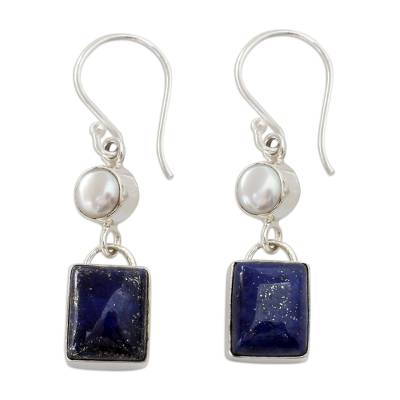 Silver Dangle Earrings with White Pearls and Lapis Lazuli