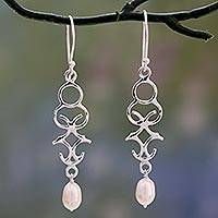 Cultured pearl dangle earrings, 'Sublime Trellis' - Polished Sterling Silver Dangle Earring with Cultured Pearls
