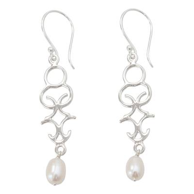 Polished Sterling Silver Dangle Earring with Cultured Pearls