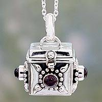 Garnet prayer box pendant necklace, 'Royal Prayer' - Artisan Crafted Prayer Box Necklace in Silver with Garnet