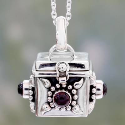 Garnet prayer box pendant necklace, Royal Prayer