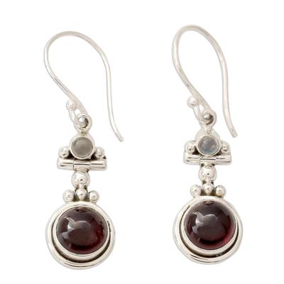 Garnet and Rainbow Moonstone Earrings Set in 925 Silver