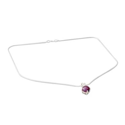 Purple Composite Turquoise Pendant Necklace in 925 Silver