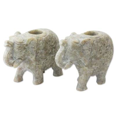 Soapstone candleholders, 'Royal Charm' (pair) - Soapstone Elephant Candle Holders for Taper Candles (Pair)