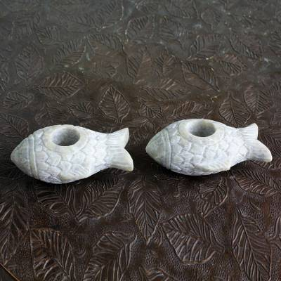 Soapstone candleholders, 'Aquatic Charm' (pair) - Artisan Crafted Carved Soapstone Fish Candle Holders (Pair)