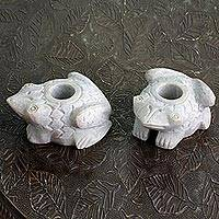 Soapstone candleholders, 'Charming Frogs' (pair) - Natural Soapstone Frog Candle Holders Made in India (Pair)