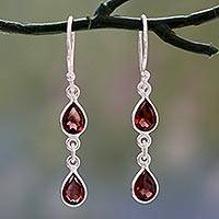 Garnet dangle earrings, 'Mystical Femme' - Polished Silver Dangle Earrings with Pear Shaped Garnets