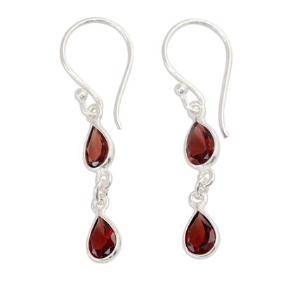 Artisan Made Garnet and Silver Dangle Earrings
