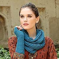 Wool infinity scarf, 'Teal Memories' - Hand Knit All Wool Teal Infinity Scarf from Indian Artisan
