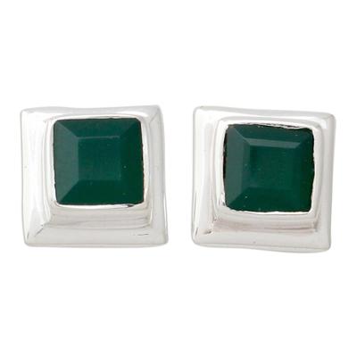 Enhanced Green Onyx Stud Earrings in 925 Silver
