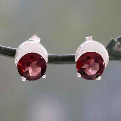 Garnet stud earrings, 'Beneath the Moon' - Sterling Silver and Garnet Stud Earrings from Indian Artisan