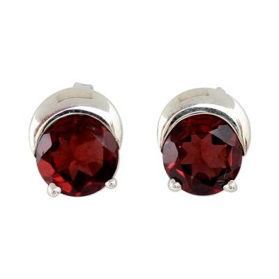 Sterling Silver and Garnet Stud Earrings from Indian Artisan