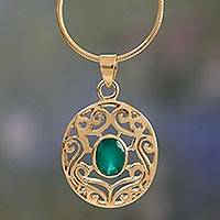 Gold vermeil and green onyx choker, 'Golden Goddess' - Gold Vermeil Pendant Necklace with Green Enhanced Onyx