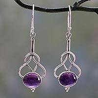 Amethyst dangle earrings, 'Wisdom Path' - Dangle Earrings with Amethyst Cabochons in Sterling Silver