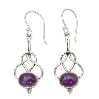 Dangle Earrings with Amethyst Cabochons in Sterling Silver