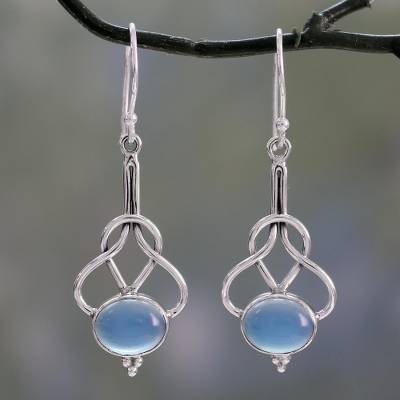 Chalcedony dangle earrings, 'Positive Path' - Light Blue Chalcedony Dangle Earrings in Silver 925 Settings
