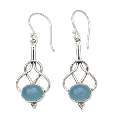 Light Blue Chalcedony Dangle Earrings in Silver 925 Settings