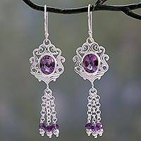 Amethyst dangle earrings, 'Purple Mughal Flair' - Ornate Sterling Silver Earrings with 5 Carats of Amethyst