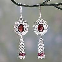 Garnet dangle earrings, 'Crimson Mughal Flair' - Fair Trade Indian Jali  Sterling Silver and Garnet Dangle Ea