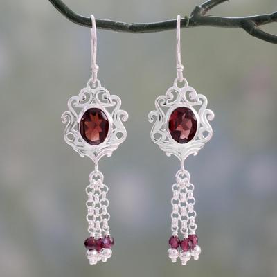 Garnet dangle earrings, 'Crimson Mughal Flair' - Fair Trade Indian Jali  Sterling Silver and Garnet Dangle Ea