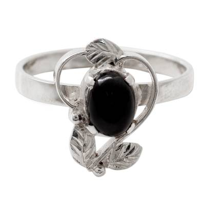 Ornate Handcrafted Silver and Onyx Cocktail Ring