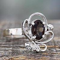 Smoky quartz cocktail ring, 'Misty Meadow' - One Carat Smoky Quartz Cocktail Ring in Sterling Silver