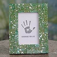 Glass mosaic photo frame, 'Moradabad Meadows' (4x6) - Green Glass Handcrafted Indian Mosaic 4 x 6 Picture Frame