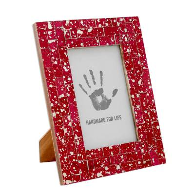 Glass mosaic photo frame, 'Red Ruby' (4x6) - Ruby Red Glass Mosaic Photo Frame from India