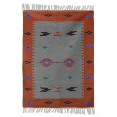 Wool rug, 'Coral Secret' (4x6) - Handwoven Indian Coral Rectangle Wool Geometric Rug (4x6)