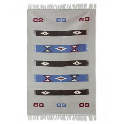 Wool rug, 'Indian Daybreak' (4x6) - Hand Woven Wool Rectangle Geometric Rug from India (4x6)
