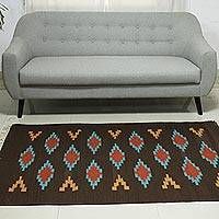 Wool rug, 'Chocolate Field' (4x6) - Handwoven Brown Wool Rectangle Area Rug from India (4x6)